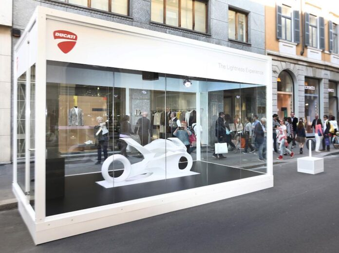 Ducati Is Back At The Audi City Lab Showcasing Two Exhibits Related To The Themes Of Design And Lightness